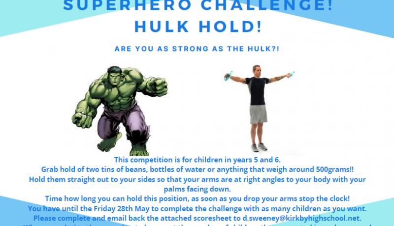 Superhero Challenge Hulk Hold 2 Pic